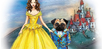 Beauty And The Pug Coloring Book Released by Left Paw Press as the next coloring book in the Pug Fairy Tale Series of coloring books