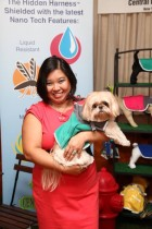 Karine Ng, Founder of Central Park Pups, poses with her muse Chewie at a Hidden Harness (TM) display.